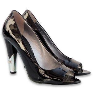 Patent Leather Metal CC Logo Heels Peep Toe Pumps